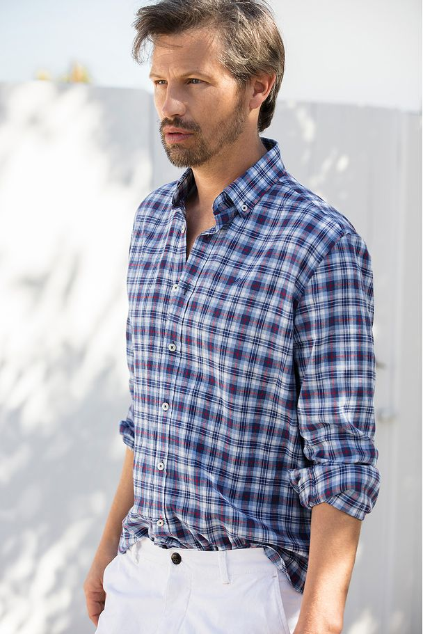 SHIRT IN SQUARES LINEN AND COTTON