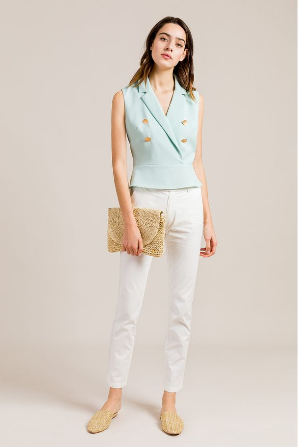 TOP WITH METALLIC BUTTONS